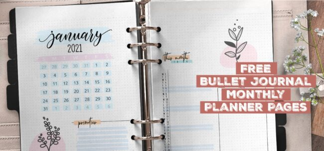 Free Bullet Journal Monthly Planner Pages Printable