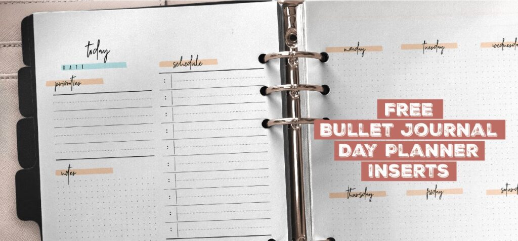 Free Bullet Journal Planner Insert Printable