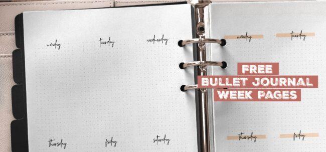 Free Bullet Journal Week Pages Printable