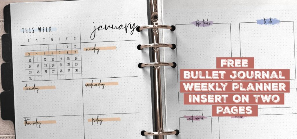 Free Bullet Journal Weekly Planner Insert On Two Pages Printable