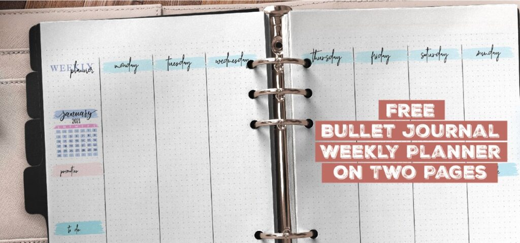 Free Bullet Journal Weekly Planner On Two Pages