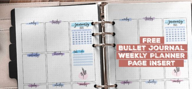 Free Bullet Journal Weekly Planner Page Insert Printable