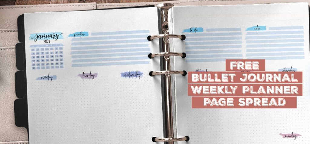 Free Bullet Journal Weekly Planner Page Spread Printable