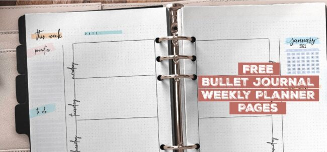 Free Bullet Journal Weekly Planner Pages Printable