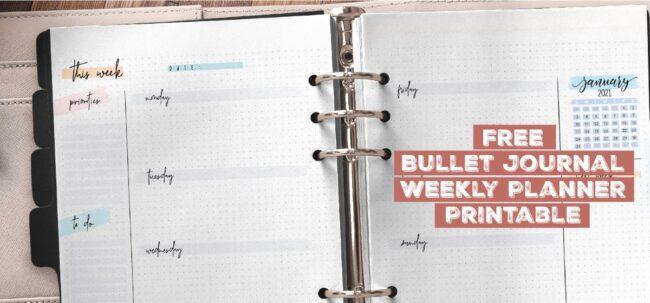 Free Bullet Journal Weekly Planner Printable