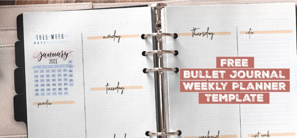 Free Bullet Journal Weekly Planner Template Printable