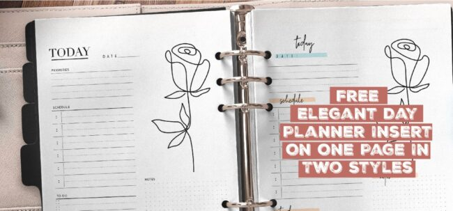 Free Elegant Day Planner Insert On One Page In Two Styles