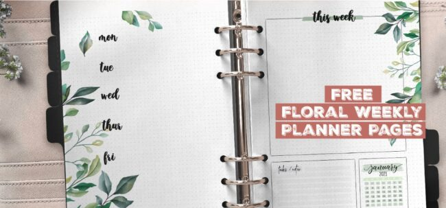 Free Floral Weekly Planner Pages