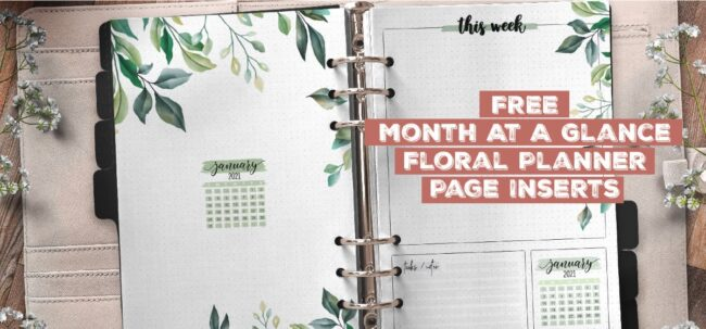 Free Month At A Glance Floral Planner Page Insert