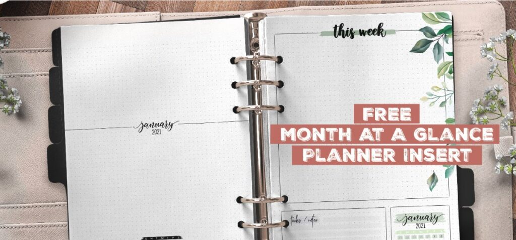 Free Month At A Glance Planner Insert