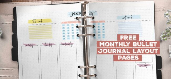 Free Monthly Bullet Journal Layout Pages