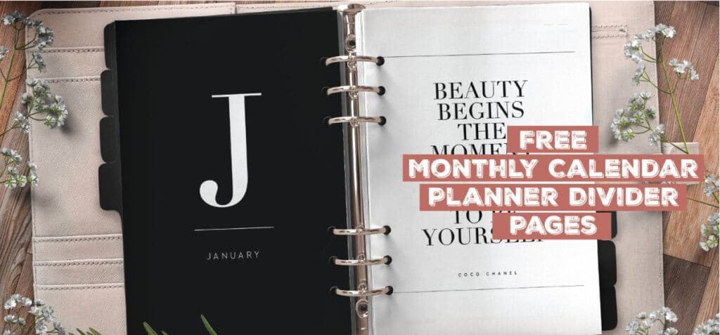 Free Monthly Calendar Planner Divider Pages