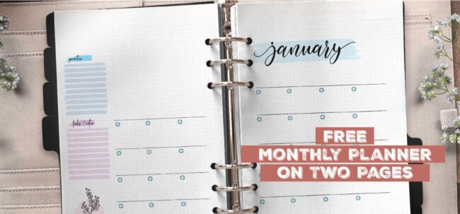 Free Monthly Planner On Two Pages
