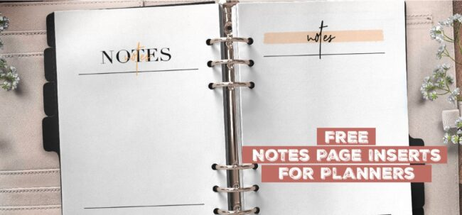Free Notes Page Inserts For Planners
