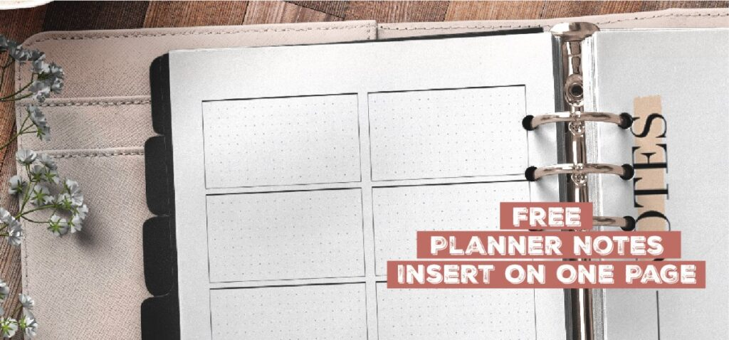 Free Planner Notes Insert On One Page
