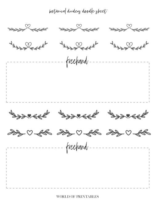 Free Printable Botanical Dividers Bullet Journal Doodle Sheets - Page 1
