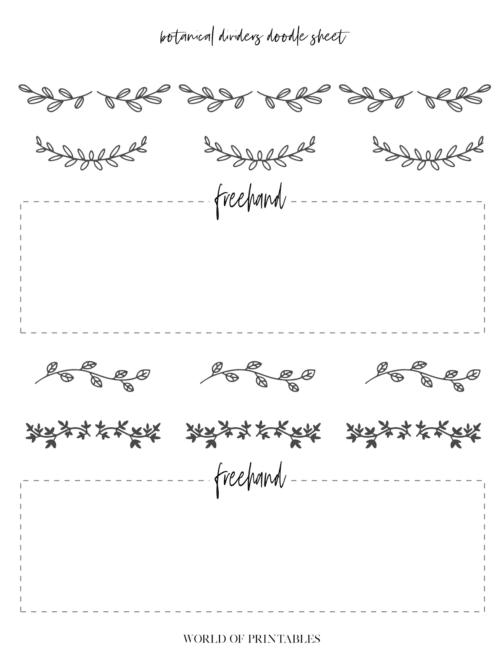 Free Printable Botanical Dividers Bullet Journal Doodle Sheets - Page 2