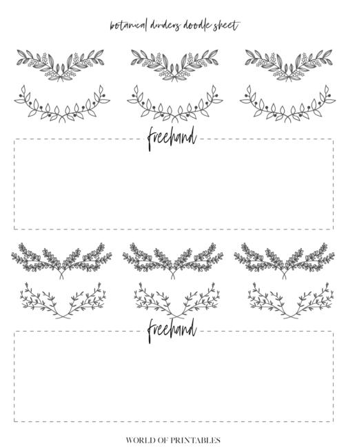 Free Printable Botanical Dividers Bullet Journal Doodle Sheets - Page 3