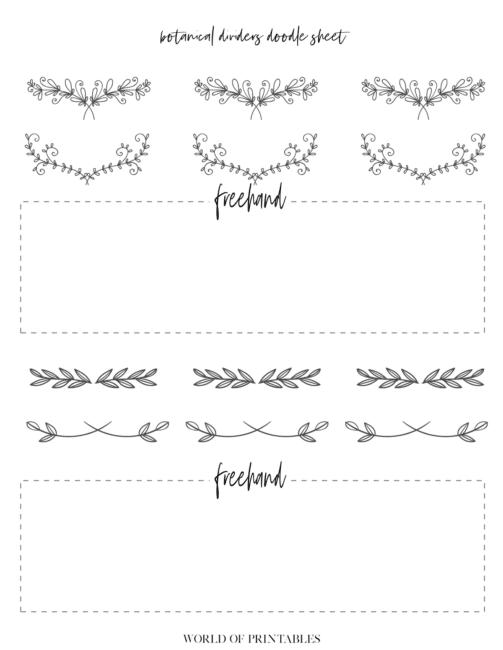 Free Printable Botanical Dividers Bullet Journal Doodle Sheets - Page 5