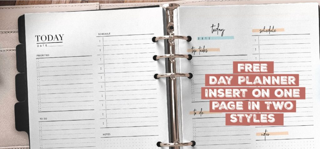 Free Day Planner Page In Two Styles