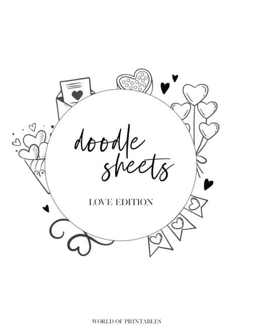 Free Printable Love Theme Bullet Journal Doodle Sheet - Cover
