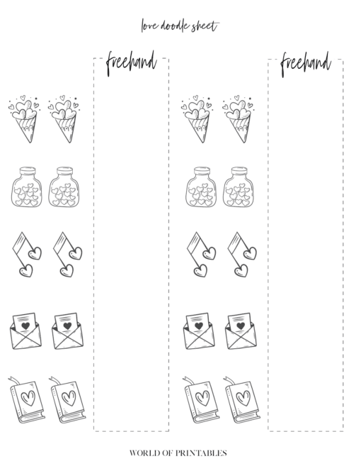 Free Printable Love Theme Bullet Journal Doodle Sheet - page 1