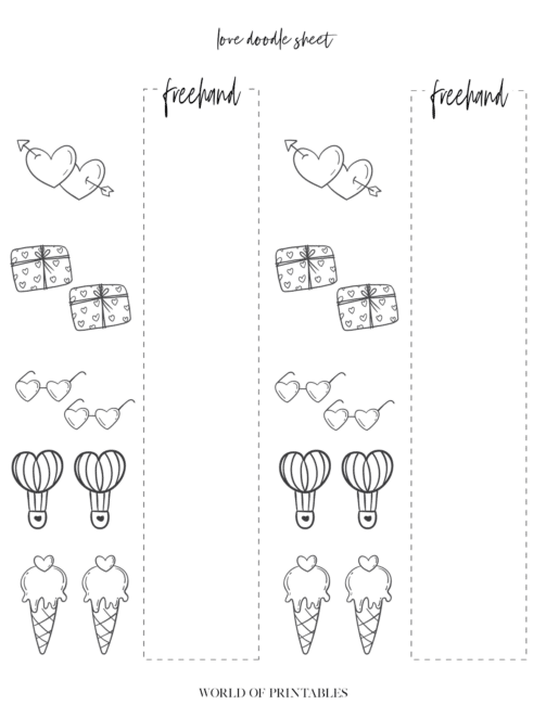 Free Printable Love Theme Bullet Journal Doodle Sheet - page 2