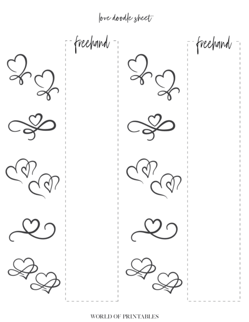 Free Printable Love Theme Bullet Journal Doodle Sheet - page 4