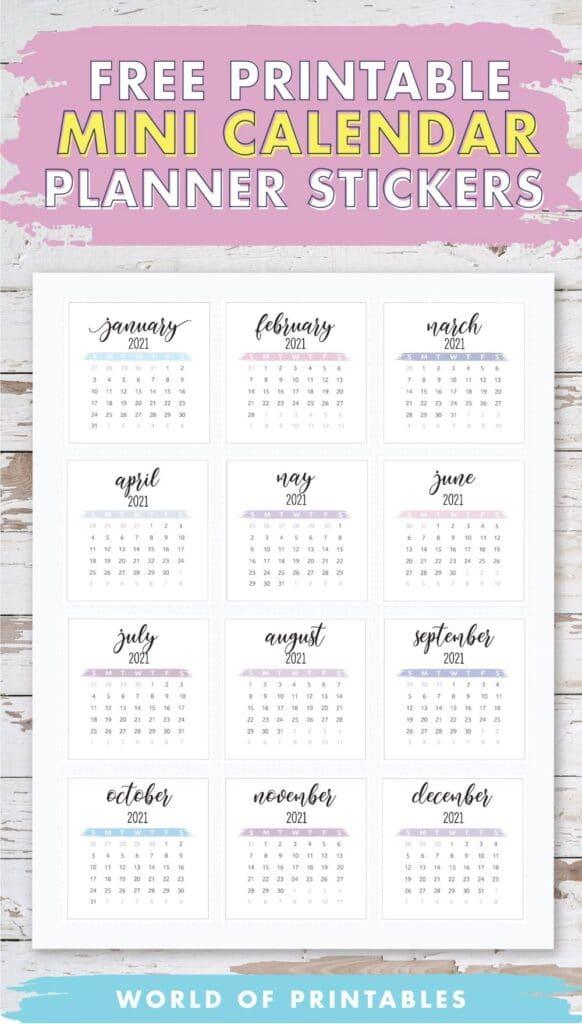Free Printable Mini Calendar Planner Stickers