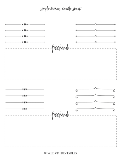 Free Printable Simple Dividers Bullet Journal Doodle Sheet - page 1