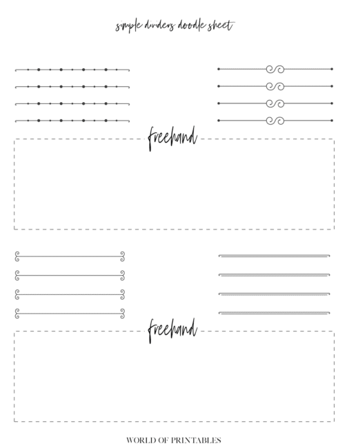 Free Printable Simple Dividers Bullet Journal Doodle Sheet - page 2