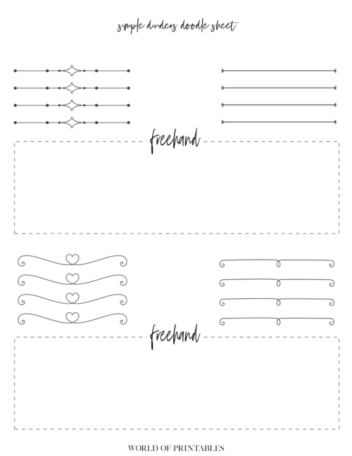Free Printable Simple Dividers Bullet Journal Doodle Sheet - page 3