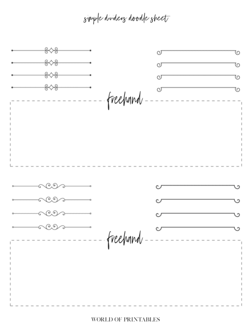 Free Printable Simple Dividers Bullet Journal Doodle Sheet - page 4