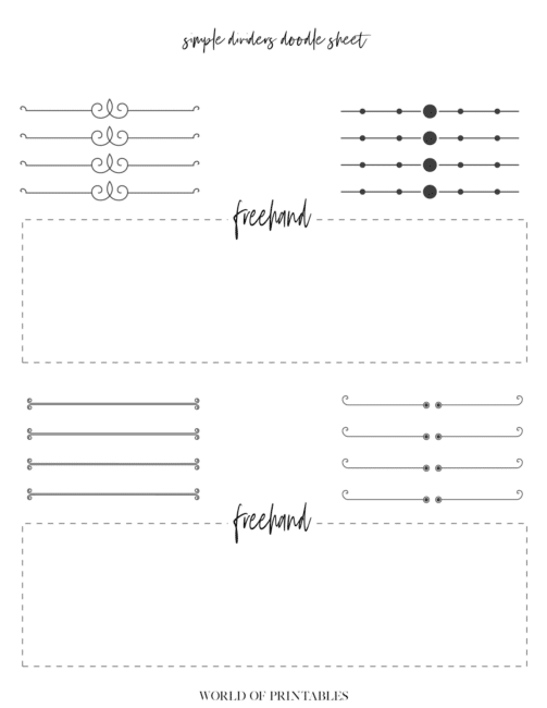 Free Printable Simple Dividers Bullet Journal Doodle Sheet - page 5
