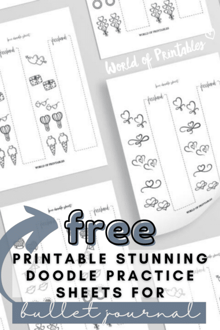 Free Printable Stunning Doodle Practice Sheets For Bullet Journal