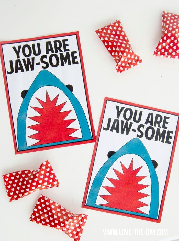 Boys Shark Valentines printable