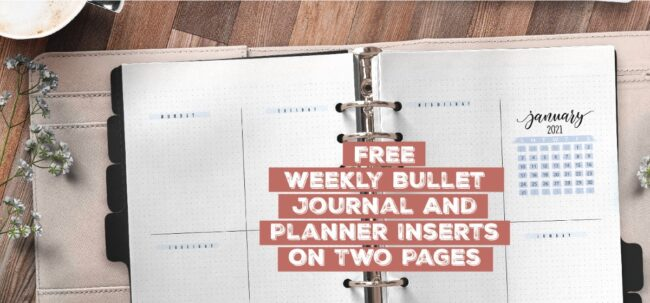 Free Weekly Bullet Journal And Planner Inserts On Two Pages