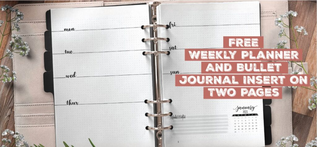Free Weekly Planner And Bullet Journal Insert On Two Pages