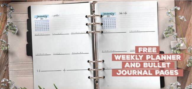 Free Weekly Planner And Bullet Journal Pages