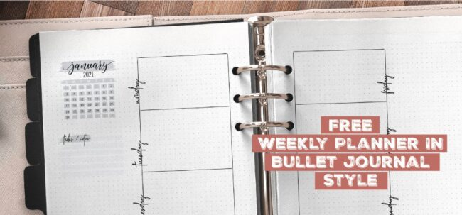 Free Weekly Planner In Bullet Journal Style