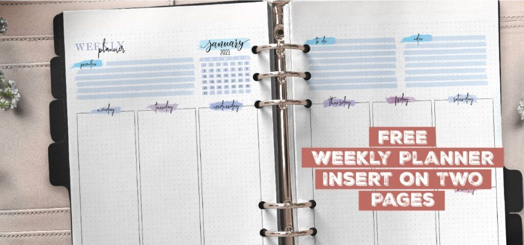 Free Weekly Planner Insert On Two Pages