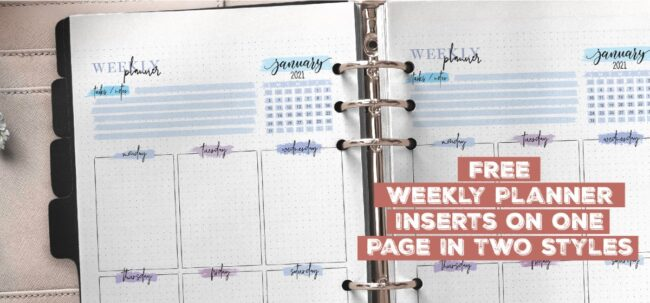Free Weekly Planner Inserts On One Page In Two Styles