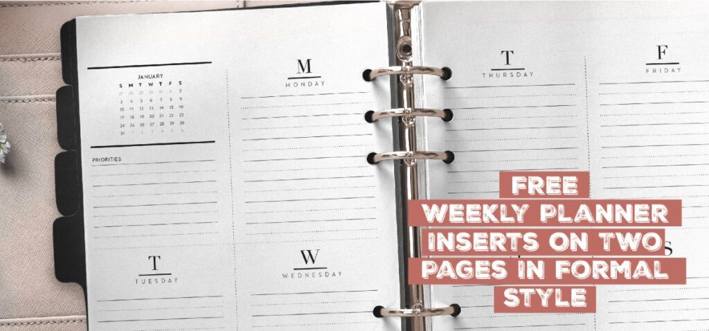 Free Weekly Planner Inserts On Two Pages In Formal Style