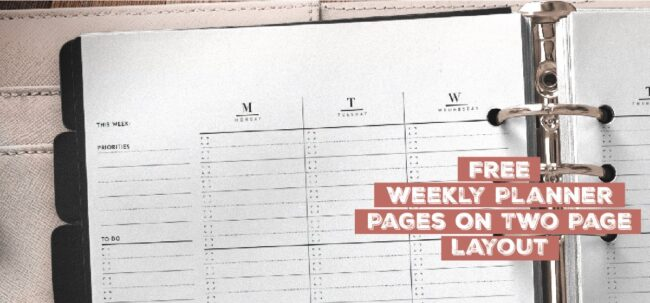 Free Weekly Planner Pages On Two Page Layout