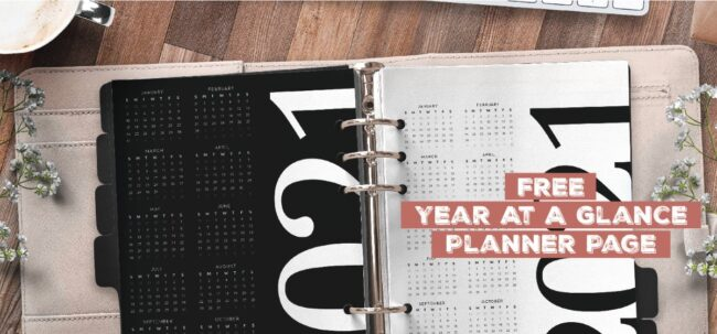 Free Year At A Glance Planner Page
