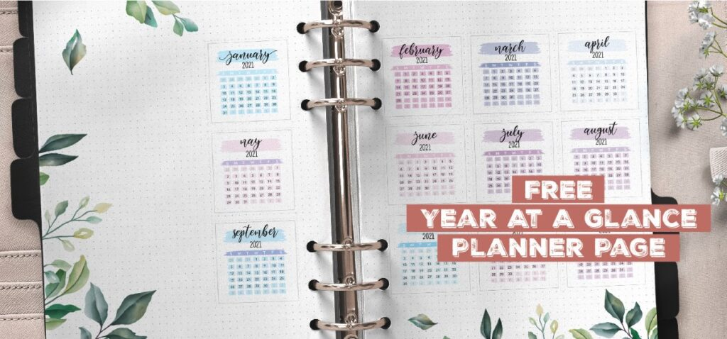 Free Yearly Planner Insert On Two Pages