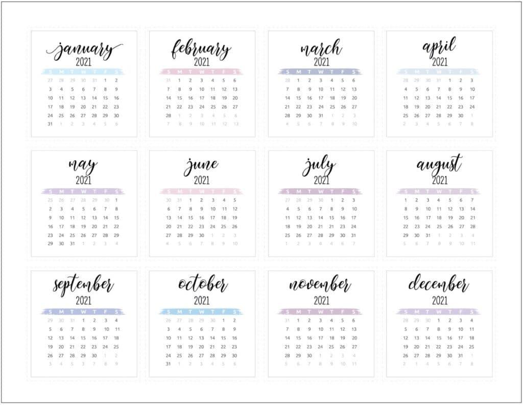Mini Calendar Printable Planner Stickers 2