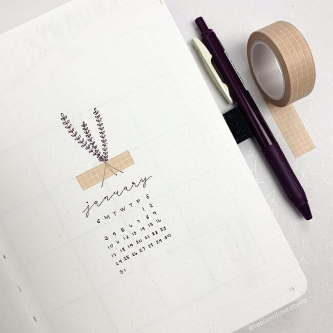 minimalist january calendar bullet journal cover page