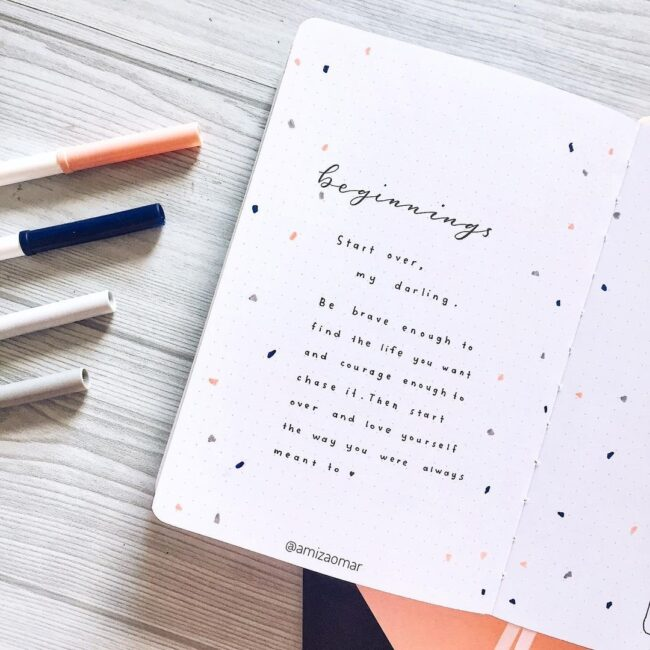 minimalist bullet journal terrazzo quote page