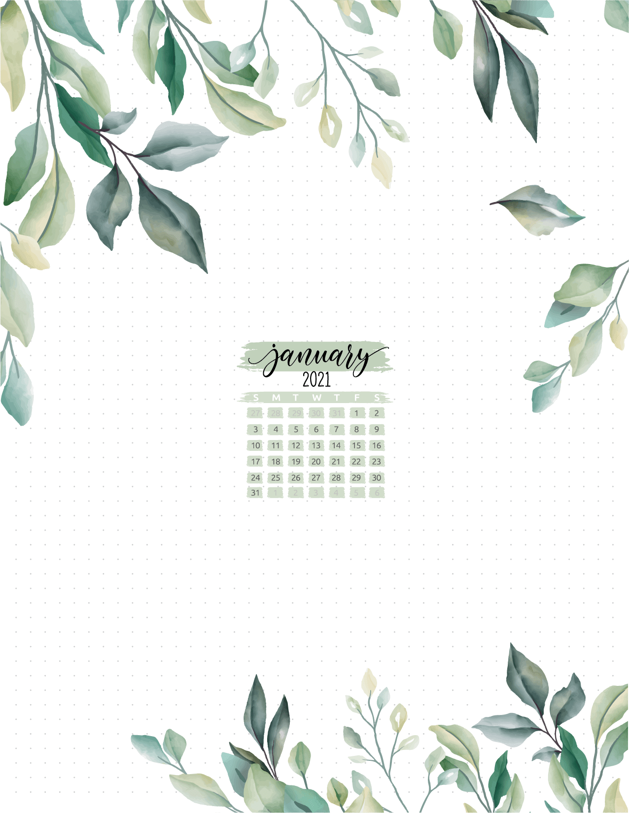 Month At A Glance Floral Planner Page Insert-01